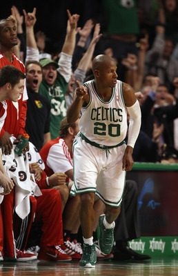 BOSTON - DECEMBER 01:  Ray Allen #20 of the Boston Celtics celebrates his three point shot in the final seconds of the game the Portland Trailblazers on December 1, 2010 at the TD Garden in Boston, Massachusetts. The Celtics defeated the Trailblazers 99-9