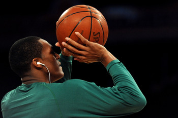 LOS ANGELES, CA - JUNE 15:  Rajon Rondo #9 of the Boston Celtics warms up before taking on the Los Angeles Lakers in Game Six of the 2010 NBA Finals at Staples Center on June 15, 2010 in Los Angeles, California.  NOTE TO USER: User expressly acknowledges
