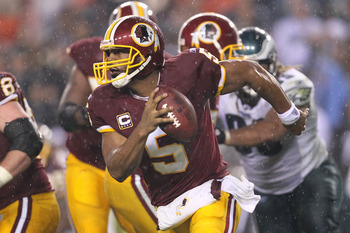LANDOVER, MD - NOVEMBER 15:  Donovan McNabb #5 of the Washington Redskins looks to throw a pass  against the Philadelphia Eagles on November 15, 2010 at FedExField in Landover, Maryland.  (Photo by Chris McGrath/Getty Images)