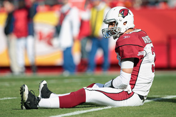 KANSAS CITY, MO - NOVEMBER 21:  Quarterback Derek Anderson #3 of the Arizona Cardinals sits on the field after failing to make a first down during the game against the Kansas City Chiefs on November 21, 2010  at Arrowhead Stadium in Kansas City, Missouri.