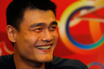 BEIJING, CHINA-AUGUST 21:China's Olympic basketball star Yao Ming talks ot the press along side USA's LeBron James at the Olympic Shuang Zone August 21, 2008 in Beijing. The Shuang Zone, sponsored by Coca Cola allows locals to attend free concerts offerin