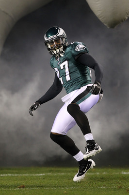 PHILADELPHIA, PA - DECEMBER 02:  Quintin Mikell #27 of the Philadelphia Eagles takes the field during player introductions against the Houston Texans at Lincoln Financial Field on December 2, 2010 in Philadelphia, Pennsylvania.  (Photo by Al Bello/Getty I