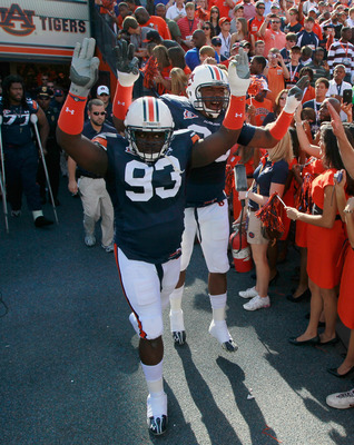 AUBURN, AL - OCTOBER 23:  Mike Blanc #93 and Nick Fairley #90 of the Auburn Tigers against the LSU Tigers at Jordan-Hare Stadium on October 23, 2010 in Auburn, Alabama.  (Photo by Kevin C. Cox/Getty Images)
