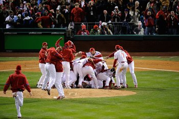 PHILADELPHIA - OCTOBER 29:  The Philadelphia Phillies celebrate after they won 4-3 against the Tampa Bay Rays during the continuation of game five of the 2008 MLB World Series on October 29, 2008 at Citizens Bank Park in Philadelphia, Pennsylvania.  (Phot