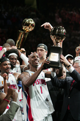 AUBURN HILLS, MI - JUNE 15:  Chauncey Billups #1 of the Detroit Pistons smiles after being award the Most Valuable Player trophy after defeating the Los Angeles Lakers in Game 5 of the 2004 NBA Finals at the Palace of Auburn Hills  on March 15, 2004 in Au