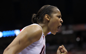 SAN ANTONIO - APRIL 06:  Forward Maya Moore #23 of the Connecticut Huskies reacts after a play against the Stanford Cardinal during the NCAA Women's Final Four Championship game at the Alamodome on April 6, 2010 in San Antonio, Texas.  (Photo by Ronald Ma