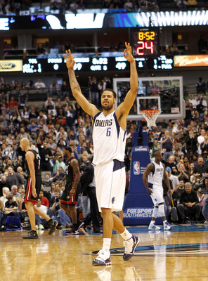DALLAS - NOVEMBER 27: Tyson Chandler #6 of the Dallas Mavericks celebrates during his team's victory over the Dallas Mavericks  on November 27, 2010 at the American Airlines Center in Dallas, Texas. NOTE TO USER: User expressly acknowledges and agrees tha