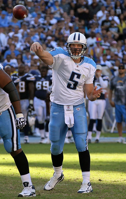 SAN DIEGO - OCTOBER 31:  Quarterback Kerry Collins #5 of the Tennessee Titans drops back to pass against the San Diego Chargers in the game at Qualcomm Stadium on October 31, 2010 in San Diego, California. The Chargers defeated the Titans 33-25.  (Photo b
