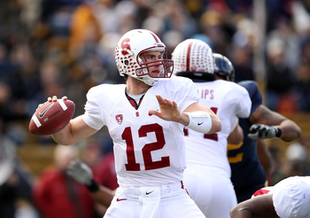 BERKELEY, CA - NOVEMBER 20:  Andrew Luck #12 of the Stanford Cardinal throws the ball during their game against the California Golden Bears at California Memorial Stadium on November 20, 2010 in Berkeley, California.  (Photo by Ezra Shaw/Getty Images)