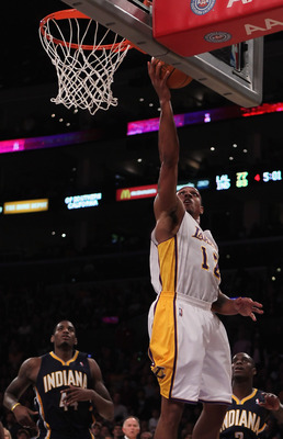 LOS ANGELES, CA - NOVEMBER 28:  Shannon Brown #12 of the Los Angeles Lakers drives to the basket for a layup against the Indiana Pacers during the fourth quarter at Staples Center on November 28, 2010 in Los Angeles, California. The Pacers defeated the La