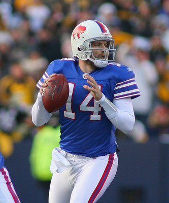 ORCHARD PARK, NY - NOVEMBER 28:  Ryan Fitzpatrick #14  of the Buffalo Bills readies to throw against the Pittsburgh Steelers at Ralph Wilson Stadium on November 28, 2010 in Orchard Park, New York. Pittsburgh won 19-16 in overtime.  (Photo by Rick Stewart/