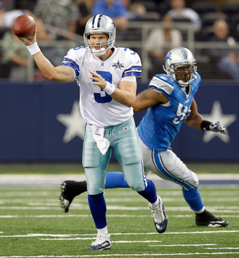 ARLINGTON, TX - NOVEMBER 21:  Quarterback Jon Kitna #3 of the Dallas Cowboys looks for an open receiver against the Detroit Lions at Cowboys Stadium on November 21, 2010 in Arlington, Texas.  The Cowboys beat the Lions 35-19.  (Photo by Tom Pennington/Get