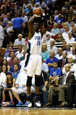 ORLANDO, FL - MAY 26:  Mickael Pietrus #20 of the Orlando Magic attempts a shot against the Boston Celtics in Game Five of the Eastern Conference Finals during the 2010 NBA Playoffs at Amway Arena on May 26, 2010 in Orlando, Florida.  NOTE TO USER: User e