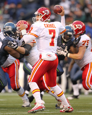 SEATTLE, WA - NOVEMBER 28:  Quarterback Matt Cassel #7 of the Kansas City Chiefs passes against the Seattle Seahawks at Qwest Field on November 28, 2010 in Seattle, Washington. (Photo by Otto Greule Jr/Getty Images)