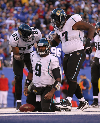 EAST RUTHERFORD, NJ - NOVEMBER 28:  David Garrard #9 of the Jacksonville Jaguars scores a touchdown against  the New York Giants during the second Quarter of their game on November 28, 2010 at The New Meadowlands Stadium in East Rutherford, New Jersey.  (