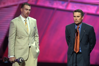 HOLLYWOOD - JULY 11:  (L-R) Boise State football player Jared Zabransky and Boise State football coach Chris Peterson accept the award for 'Best Game' onstage during the 2007 ESPY Awards at the Kodak Theatre on July 11, 2007 in Hollywood, California.  (Ph