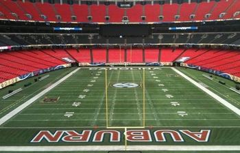 The Georgia Dome turf is prepared for the SEC Championship. This picture was taken Thursday