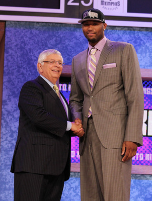 NEW YORK - JUNE 24:  DeMarcus Cousins stands with NBA Commisioner David Stern after being drafted fifth by  The Sacramento Kings at Madison Square Garden on June 24, 2010 in New York City.  NOTE TO USER: User expressly acknowledges and agrees that, by dow
