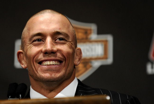 NEW YORK - MARCH 24:  Georges St-Pierre of Montreal, Quebec, Canada speaks at a press conference for UFC 111 at Radio City Music Hall on March 24, 2010 in New York City.  St-Pierre will face Dan Hardy of Nottingham UK in the Welterweight title bout.  (Pho