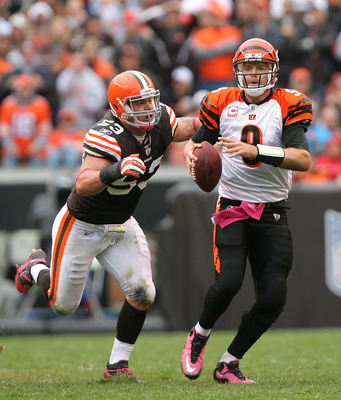 CLEVELAND - OCTOBER 03:  Matt Roth #53 of the Cleveland Browns sacks quarterback Carson Palmer #9 of the Cincinnati Bengals at Cleveland Browns Stadium on October 3, 2010 in Cleveland, Ohio.  (Photo by Matt Sullivan/Getty Images)