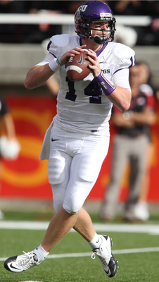 SALT LAKE CITY, UT - NOVEMBER 6: Andy Dalton #14 of the TCU Horned Frogs looks to pass during a game against the Utah Utes during the first half of an NCAA football game November 6, 2010 at Rice-Eccles Stadium in Salt Lake City, Utah. (Photo by George Fre