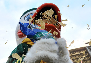 CORVALLIS, OR - DECEMBER 4: Oregon Ducks mascot 'Puddles' eats Tostitos chips as time winds down in the fourth quarter of the game against the Oregon State Beavers at Reser Stadium on December 4, 2010 in Corvallis, Oregon. The Ducks beat the Beavers 37-20