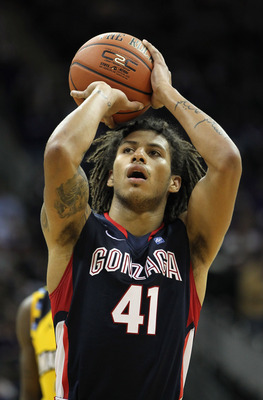 KANSAS CITY, MO - NOVEMBER 23:  Stephen Gray #41 of the Gonzaga Bulldogs shoots a free throw during the CBE Classic consolation game against the Marquette Golden Eagles on November 23, 2010 at the Sprint Center in Kansas City, Missouri.  (Photo by Jamie S