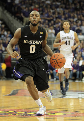 KANSAS CITY, MO - NOVEMBER 22:  Jacob Pullen #0 of the Kansas State Wildcats controls the ball during the CBE Classic game against the Gonzaga Bulldogs on November 22, 2010 at the Sprint Center in Kansas City, Missouri.  (Photo by Jamie Squire/Getty Image