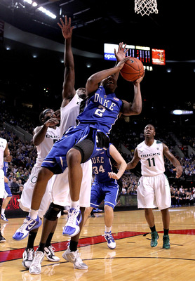 PORTLAND, OR - NOVEMBER 27:  Nolan Smith #2 of the Duke Blue Devils shoots a layup against the Oregon Ducks on November 27, 2010 at the Rose Garden in Portland, Oregon.  (Photo by Jonathan Ferrey/Getty Images)