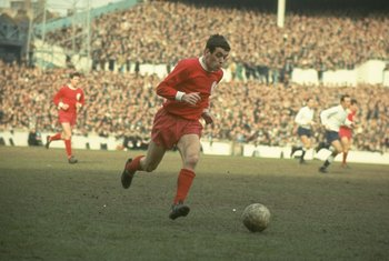 1967:  Ian Callaghan of Liverpool in action during a Football League Division One match against Liverpool at White Hart Lane in London.  \ Mandatory Credit: Allsport UK /Allsport