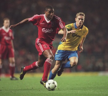 31 OCT 1995:  JOHN BARNES OF LIVERPOOL IN ACTION  DURING THE 2ND ROUND 2ND LEG UEFA CUP MATCH AGAINST BRONDBY AT ANFIELD. BRONDBY WON 1-0.  Mandatory Credit: Clive Brunskill/ALLSPORT
