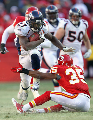 KANSAS CITY, MO - DECEMBER 05:  Knowshon Moreno #27 of the Denver Broncos carries the ball as Ricky Price #35 of the Kansas City Chiefs defends during the game on December 5, 2010 at Arrowhead Stadium in Kansas City, Missouri.  (Photo by Jamie Squire/Gett