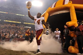 LANDOVER, MD - DECEMBER 27:  Stephon Heyer #74 of the Washington Redskins is introduced before the game against the Dallas Cowboys at FedExField on December 27, 2009 in Landover, Maryland. The Cowboys defeated the Redskins 17-0. (Photo by Larry French/Get