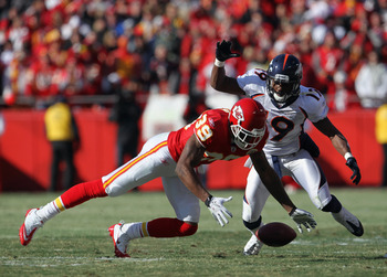 KANSAS CITY, MO - DECEMBER 05:  Brandon Carr #39 of the Kansas City Chiefs breaks up a pass intended for Eddie Royal #19 of the Denver Broncos during the game on December 5, 2010 at Arrowhead Stadium in Kansas City, Missouri.  (Photo by Jamie Squire/Getty