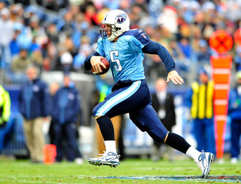 NASHVILLE, TN - DECEMBER 05:  Quarterback Kerry Collins #5 of the Tennessee Titans runs after being flushed out of the pocket by the Jacksonville Jaguars at LP Field on December 5, 2010 in Nashville, Tennessee. The Jaguars won 17-6. (Photo by Grant Halver