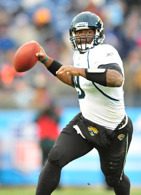 NASHVILLE, TN - DECEMBER 05:  Quarterback David Garrard #9 of the Jacksonville Jaguars rolls out against the Tennessee Titans at LP Field on December 5, 2010 in Nashville, Tennessee. The Jaguars won 17-6. (Photo by Grant Halverson/Getty Images)