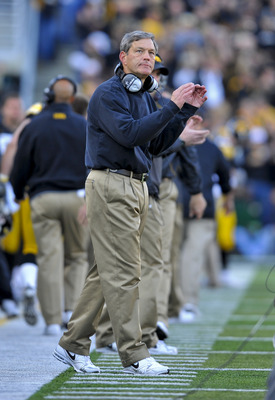 IOWA CITY, IA - OCTOBER 30- Kirk Ferentz head coach of the University of Iowa Hawkeyes celebrates during the Michigan State Spartans NCAA college football game at Kinnick Stadium on October 30, 2010 in Iowa City, Iowa. Iowa won 37-6 over Michigan State. (