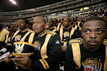 DALLAS - SEPTEMBER 17:  Members of the Grambling State University marching band watch as the Dallas Cowboys host the Washington Redskins at Texas Stadium in Dallas, Texas on September 17, 2006.  Dallas won 27 - 10.  (Photo by Brent Stirton/Getty Images)