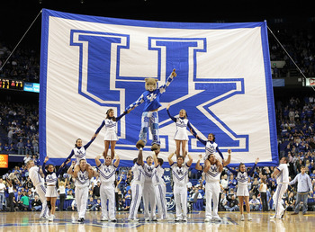 LEXINGTON, KY - NOVEMBER 30:  The Kentucky Wildcats cheerleaders perform during the game against the Boston University Terriers on November 30, 2010 in Lexington, Kentucky.  (Photo by Andy Lyons/Getty Images)