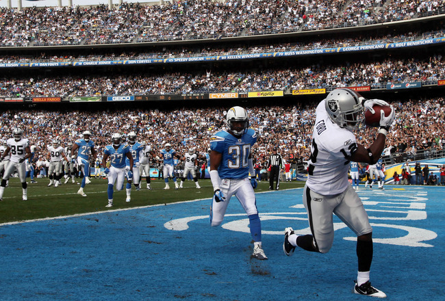 SAN DIEGO, CA - DECEMBER 5:  Wide Receiver Jacoby Ford #12 of the Oakland Raiders catches a touchdown catch in front of Donald Strickland #30 of the San Diego Chargers a during their NFL game at Qualcomm Stadium on December 5, 2010 in San Diego, Californi
