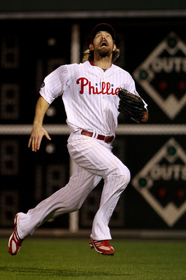 PHILADELPHIA - OCTOBER 23:  Jayson Werth #28 of the Philadelphia Phillies chases down a foul ball against the San Francisco Giants in Game Six of the NLCS during the 2010 MLB Playoffs at Citizens Bank Park on October 23, 2010 in Philadelphia, Pennsylvania