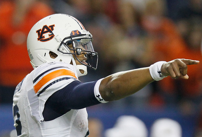 ATLANTA, GA - DECEMBER 04:  Quarterback Cam Newton #2 of the Auburn Tigers points out the defense of the South Carolina Gamecocks during the 2010 SEC Championship at Georgia Dome on December 4, 2010 in Atlanta, Georgia.  (Photo by Kevin C. Cox/Getty Image