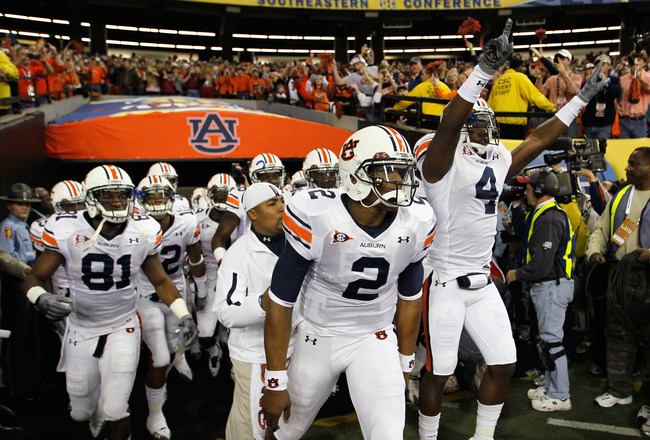 ATLANTA, GA - DECEMBER 04:  Quarterback Cam Newton #2 of the Auburn Tigers leads the team out to face the South Carolina Gamecocks during the 2010 SEC Championship at Georgia Dome on December 4, 2010 in Atlanta, Georgia.  (Photo by Kevin C. Cox/Getty Imag