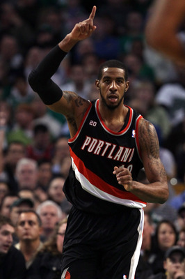 BOSTON - DECEMBER 01:  LaMarcus Aldridge #12 of the Portland Trailblazers celebrates his basket in the first half against the Boston Celtics on December 1, 2010 at the TD Garden in Boston, Massachusetts.  NOTE TO USER: User expressly acknowledges and agre