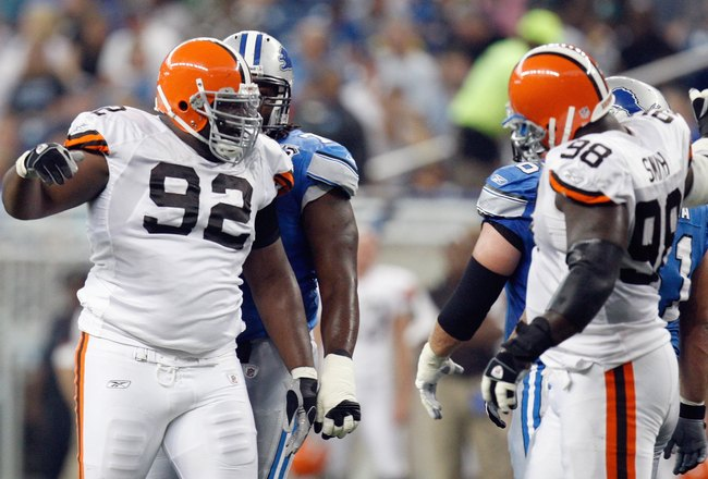 DETROIT - AUGUST 23: Offensive linemen Shaun Rogers #92 and Robaire Smith #98 of the Cleveland Browns celebrate during the game against the Detroit Lions at Ford Field on August 23, 2008 in Detroit, Michigan. (Photo by: Gregory Shamus/Getty Images)