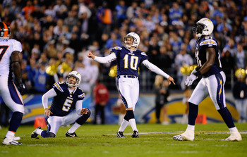 SAN DIEGO - NOVEMBER 22:  Kicker Nate Kaeding #10 of the San Diego Chargers in action during the NFL football game against Denver Broncos at Qualcomm Stadium on November 22, 2010 in San Diego, California.  (Photo by Kevork Djansezian/Getty Images)