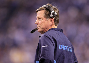 INDIANAPOLIS - NOVEMBER 28: Norv Turner the Head Coach of the San Diego Chargers watches play during the NFL game against the Indianapolis Colts at Lucas Oil Stadium on November 28, 2010 in Indianapolis, Indiana.  (Photo by Andy Lyons/Getty Images)