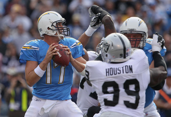 SAN DIEGO - DECEMBER 05:  Quarterback Philip Rivers #17 of the San Diego Chargers drops back to pass in the first quarter against the Oakland Raiders at Qualcomm Stadium on December 5, 2010 in San Diego, California. The Raiders defeated the Chargers 28-13