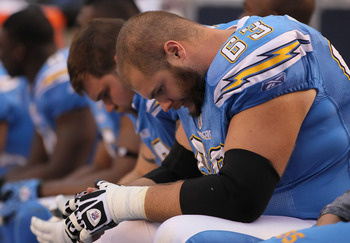 SAN DIEGO - DECEMBER 05:  Scott Mruczkowski #63 of the San Diego Chargers is seen dejected on the bench in the closing minutes of the fourth quarter against the Oakland Raiders at Qualcomm Stadium on December 5, 2010 in San Diego, California. The Raiders