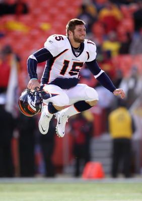 KANSAS CITY, MO - DECEMBER 05:  Quarterback Tim Tebow #15 of the Denver Broncos stretches during warm-ups prior to the start of the game against the Kansas City Chiefs on December 5, 2010 at Arrowhead Stadium in Kansas City, Missouri.  (Photo by Jamie Squ